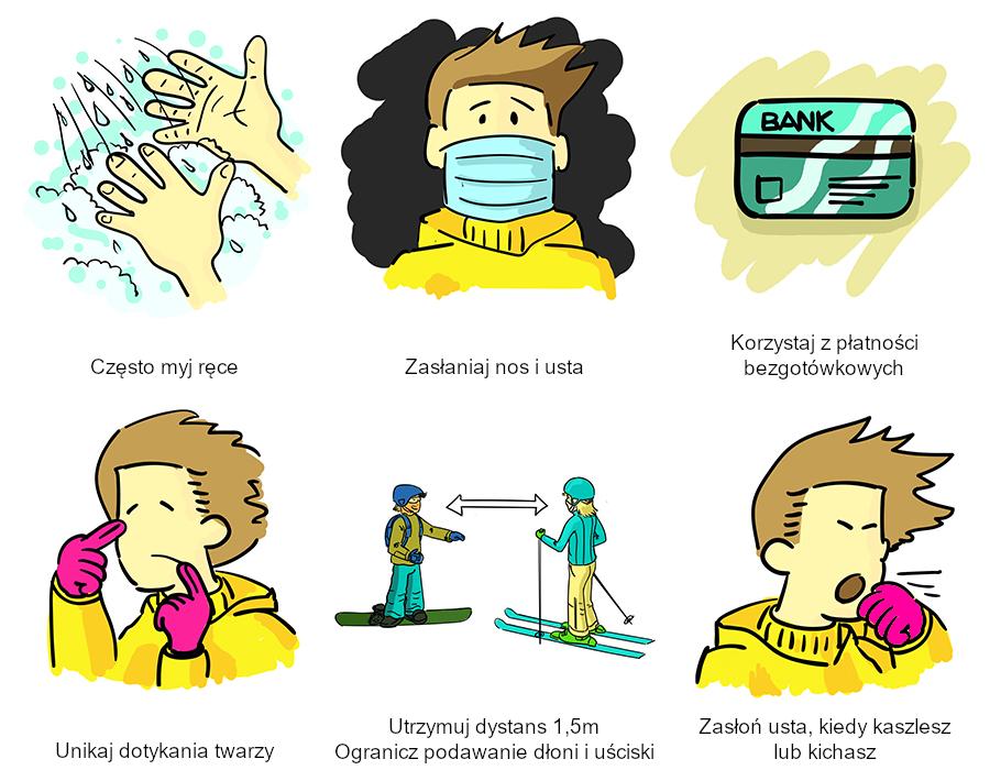 Często myj ręce, zasłaniaj nos iusta, płać bezgotówkowo, unikaj dotykania twarzy, zachowaj dystans, zasłoń usta jeśli kaszlesz lub kichasz