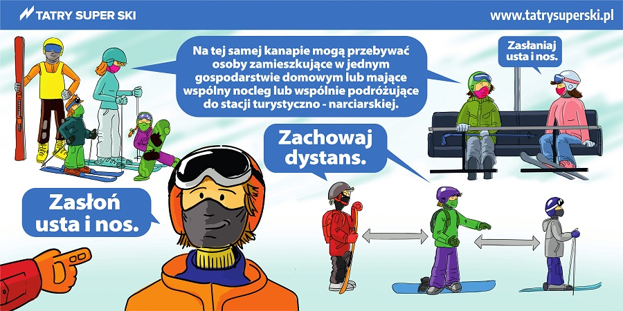 Tatry Super Ski - zasłoń nos iusta, na kanapie wyciągu mogą przebywać jedynie osoby zjednego gospodarstwa domowego, mające wspólny nocleg lub wspólnie podróżujące do stacji turystyczno-narciarskiej. Zachowaj dystans.